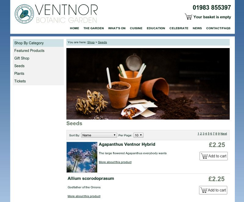 Ventnor Botanic Garden ecommerce website
