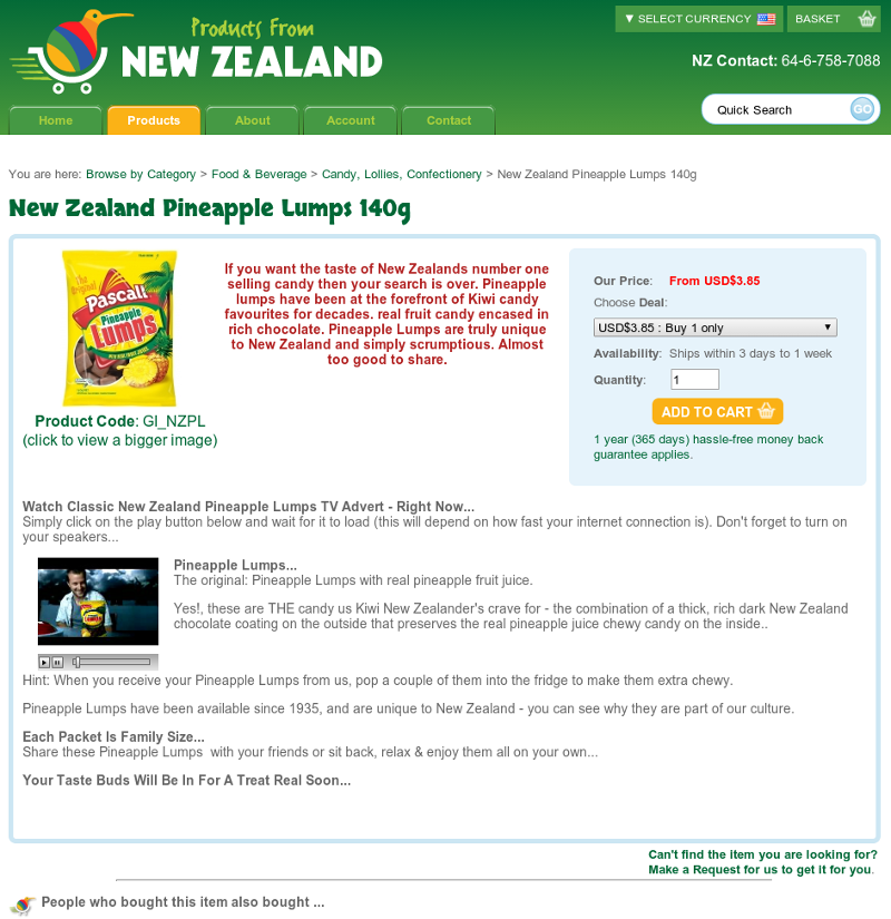 Products From New Zealand cart