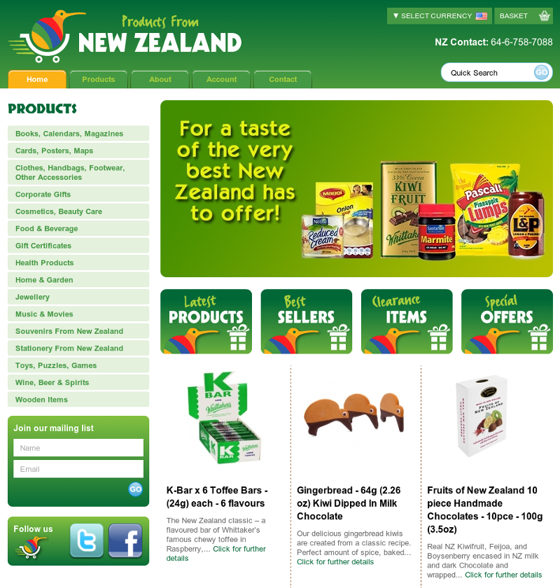 Products From New Zealand home page
