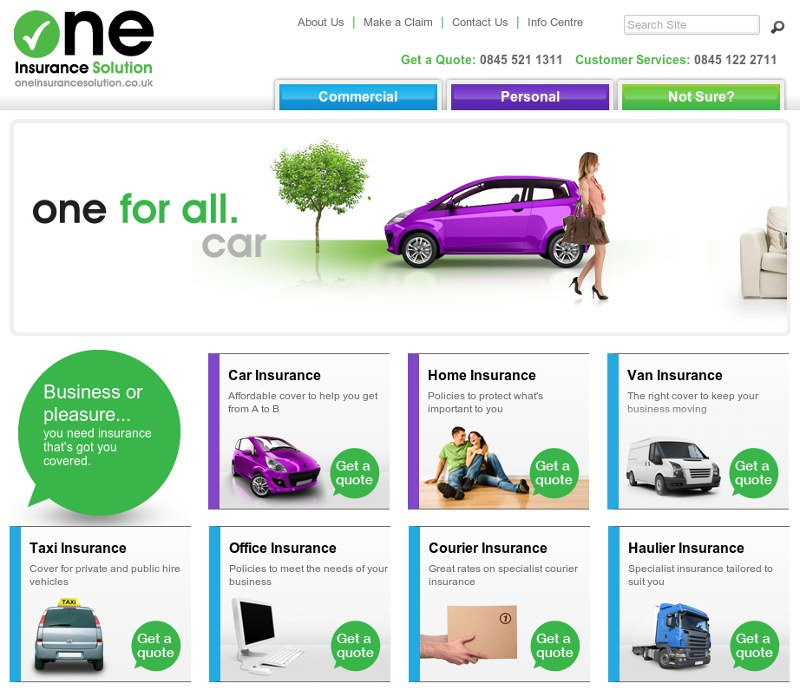 One Insurance Solution website