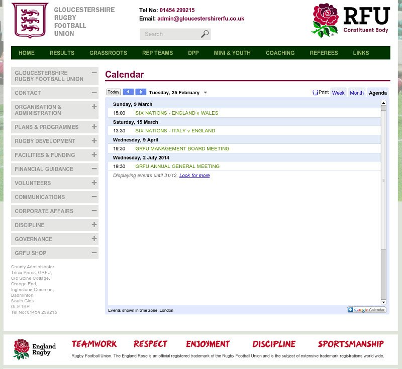 Gloucestershire rugby football club events calendar