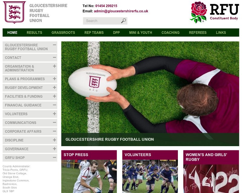 Gloucestershire rugby football union website