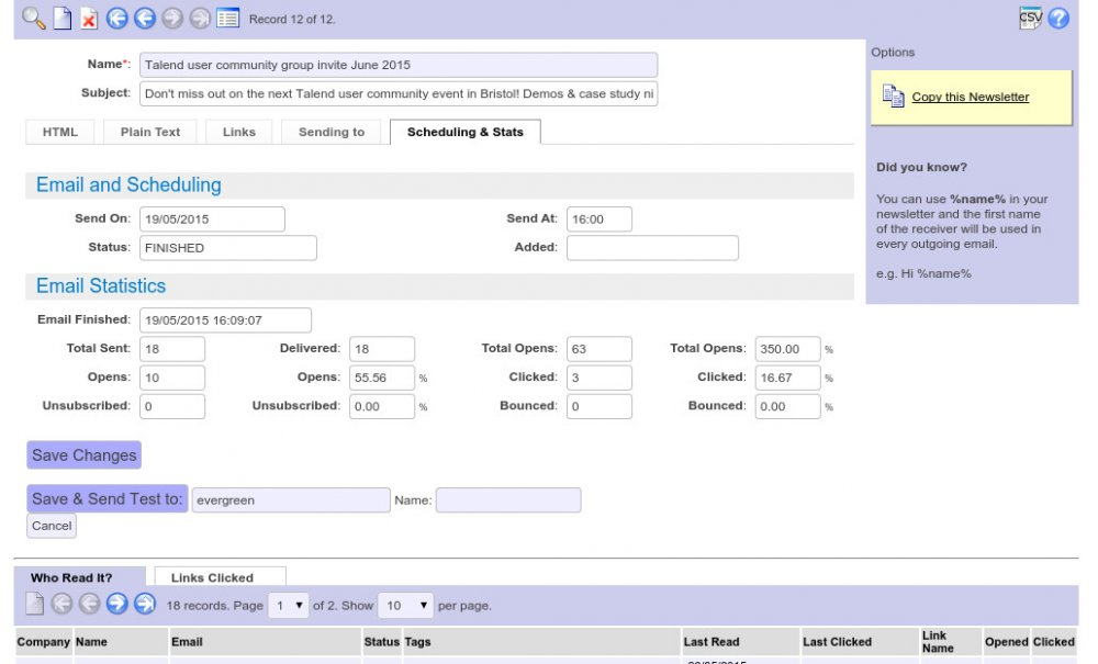 Email sending system built into the CRM