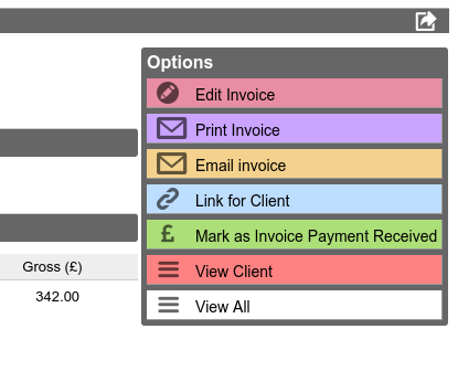 Options for each invoice